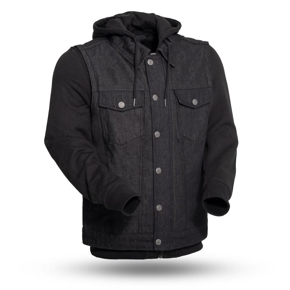 sneakers the latest unique design Rook Men's Denim Vest with Removable Black Hoodie